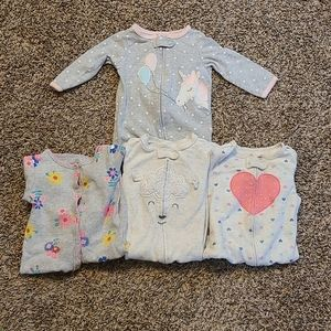 Carters Baby Girl Bundle Sleeper Footies Size 6M
